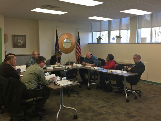 Members of the Calhoun County Land Bank Authority board meet Friday in Marshall. (Photo: Dillon Davis/The Enquirer)